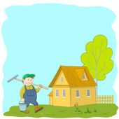 Man gardener near the house — Stock Vector