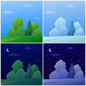 Set forest landscapes — Stock Vector