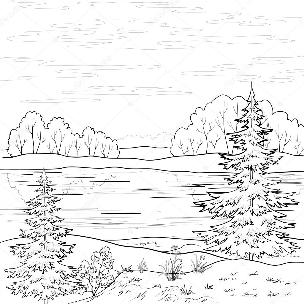 Landscape  Forest river  outline - Stock IllustrationMountain Landscape Outline