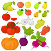 Vegetables and fruits, set — Vector de stock