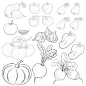 Vegetables and fruits, outline, set — Vector de stock
