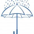 Umbrella and rain, pictogram - Stock Photo