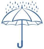 Umbrella and rain, pictogram — Stock Photo