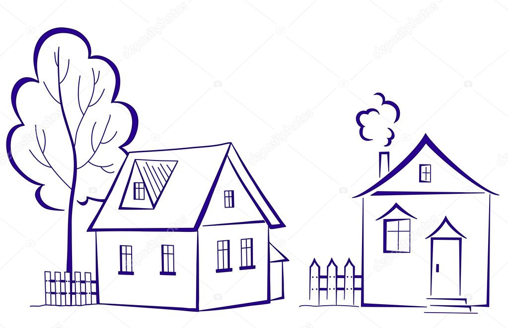 Houses with a tree, pictogram — Stock Vector © oksanaok #6454370: depositphotos.com/6454370/stock-illustration-houses-with-a-tree...