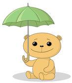 Teddy bear and umbrella — Stockvector