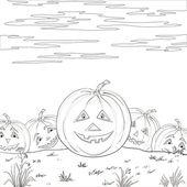 Halloween pumpkins army, contours — Stock Vector