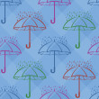 Stock Photo: Seamless background, umbrellas and rain drops