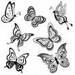 Butterflies, contours - Stock Vector