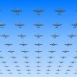 Stock Photo: Massed formation of Spitfire fighters
