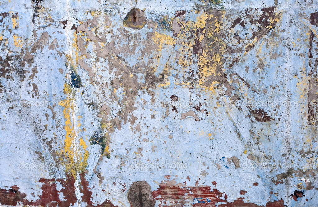 Texture of vintage grunge concrete wall with peeling color paint. — Stock Photo #5380823