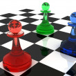 RGB Colorful chess pawns — Stock Photo #5397732