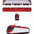 Projections and perspective view of the modern electric locomotive — Stock Photo