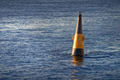 Black and yellow buoy — Stock Photo