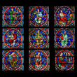 Stained glass window. Notre Dame Cathedral in Paris — Stock Photo