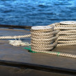 Careful bundle of rope on the submarine — Stock Photo