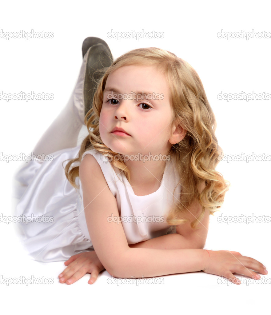 Kid - activity in preschool - over white — Stock Photo #5847767