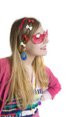 Teenager in pink suun glases — Stock Photo