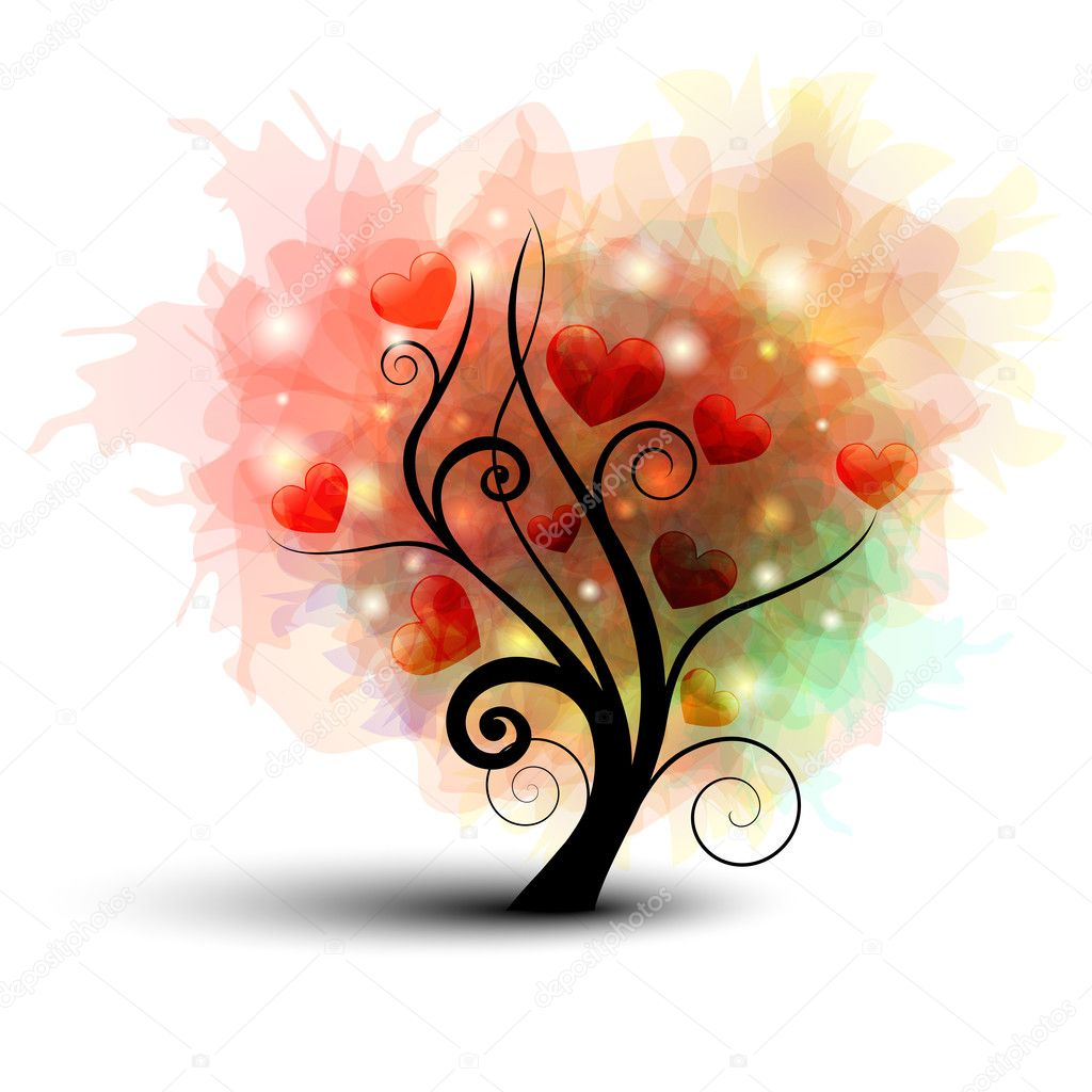 Abstract tree silhouette with rainbow leafs and heart — Stock Vector #5981010