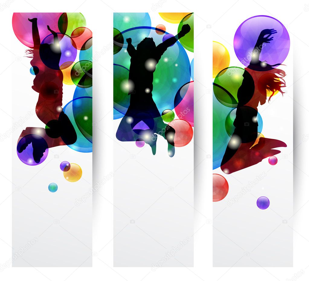 Set of three banner with happy jumping — Stock Vector #6049237