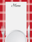 Menu napkin red and table set — Stock Vector
