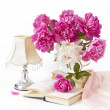 Stock Photo: Bouquet of pink and white peonies