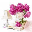 Bouquet of pink and white peonies - Stock Photo
