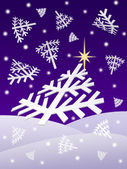 Christmas night snowflakes — Stock Photo