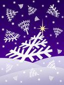 Christmas night snowflakes — Stock Photo