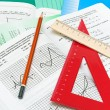 Mathematics textbook, notebook, pencil and ruler — Stock Photo