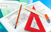 Mathematics textbook, notebook, pencil and ruler — Foto Stock