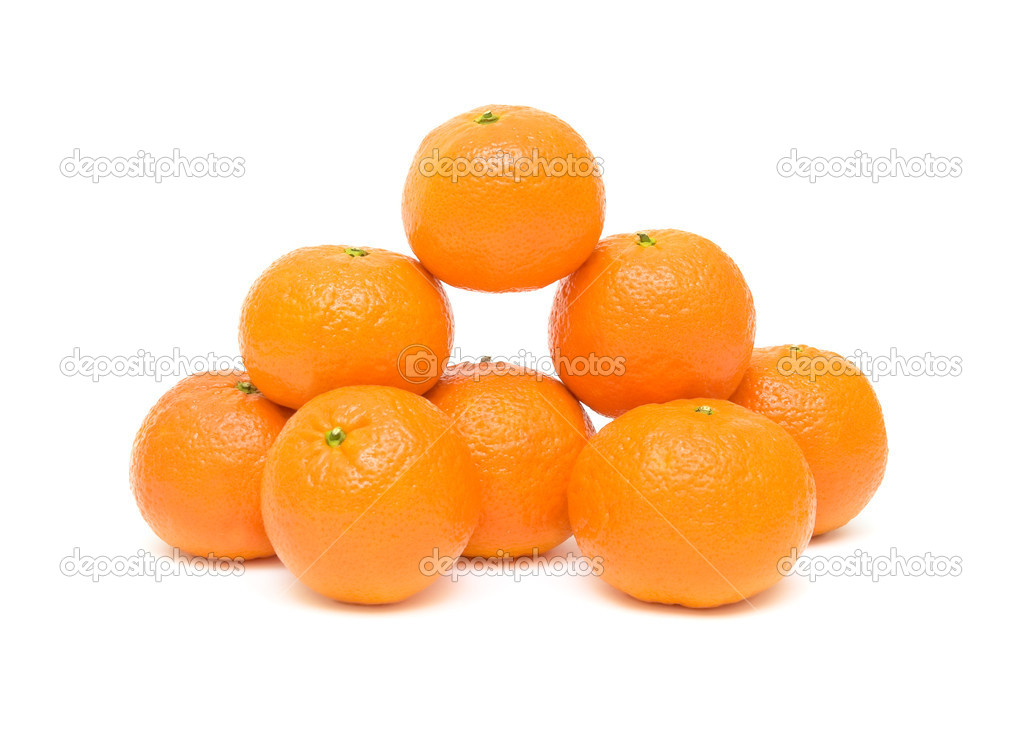 Eight ripe mandarins closeup isolated on white background — Stock Photo #6372869