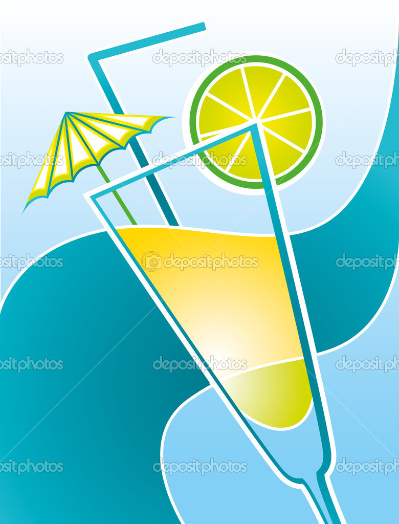 Illustration with a cocktail and sea wave — Stock Vector #5799427