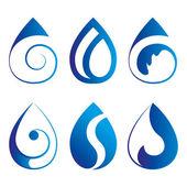 Blue drop emblems — Stock Vector