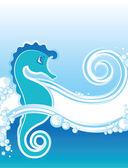Blue seahorse — Stock Vector