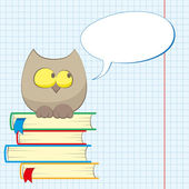 Owl and books — Stock Vector