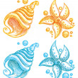 Royalty-Free Stock Vector Image: Shell and starfish