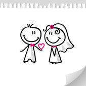 Svatební pár — Stock vektor