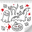 Set of halloween elements — Stock Vector