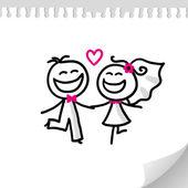 結婚式のカップル — ストックベクタ