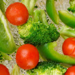 Tasty steamed vegetables with water drops on them — Stock Photo