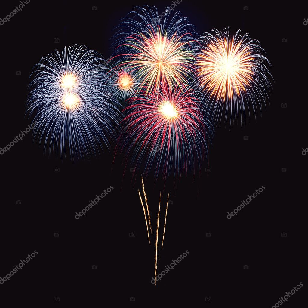 Brightly colorful fireworks and salute of various colors in the night sky — Stock Photo #5877212