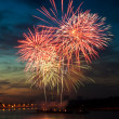 Brightly colorful fireworks in the night sky — Stock Photo #5913431