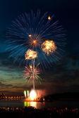 Helder kleurrijke vuurwerk in de nachtelijke hemel — Stockfoto