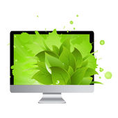 Icon Of Monitor With Leaves — Stock Vector
