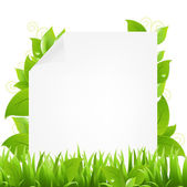 Paper With Sprout And Grass — Stock Vector