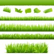 Stock Vector: Green Grass And Leafs Set