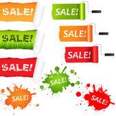 Set Sale Paper Elements — Stock Vector