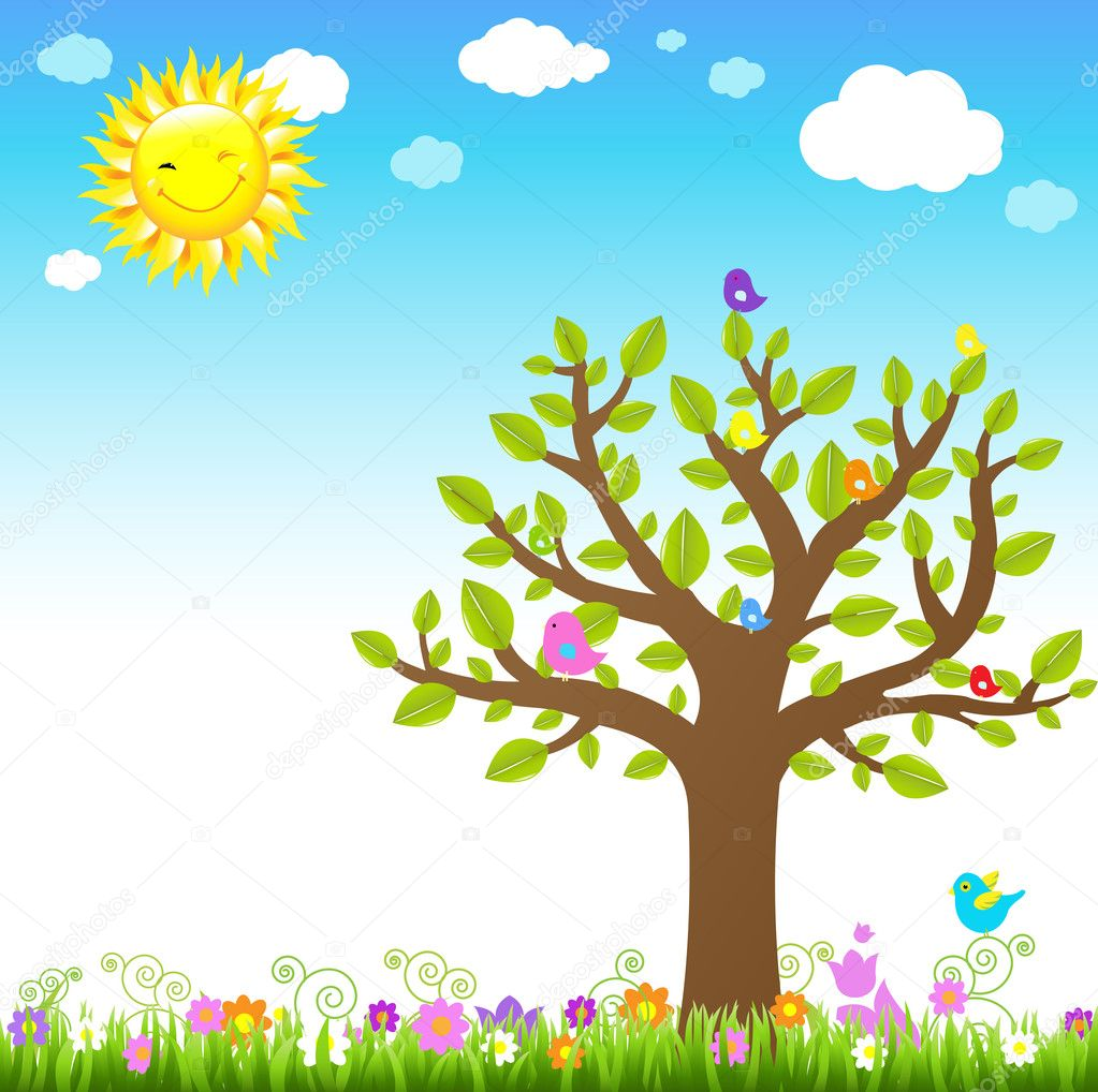 Cartoon Landscape With Bird, Vector Illustration  — Stock Vector #5983457