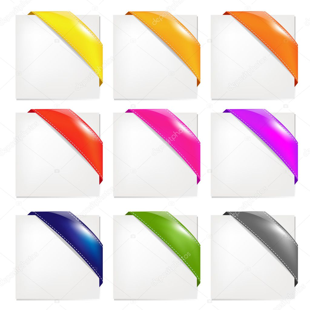 Color Ribbons Set, Isolated On White Background, Vector Illustration — Stock Vector #6279438