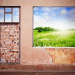 Stock Photo: Wall with window and summer landscape